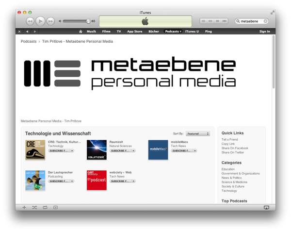 Metaebene @ iTunes
